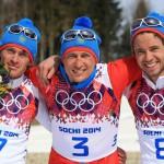 Лыжные гонки. Мужчины. 50 км  1. Александр Легков – 1:46.55,2.  2. Максим Вылегжанин – + 0,7.  3. Илья Черноусов – + 0,8
