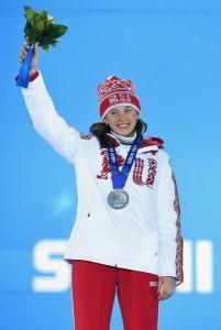 Ольга Вилухина, завоевавшая серебряную медаль в женском биатлонном спринте.