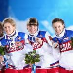 Сборная России по биатлону в составе Яны Романовой, Ольги Зайцевой, Екатерины Шумиловой и Ольги Вилухиной завоевала серебряные медали в эстафете.